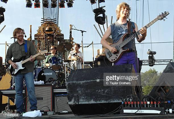 Trey Anastasio and Jon Fishman perform with Mike Gordon at Sherwood Court during Rothbury 2008 on July 6 2008 in Rothbury Michigan