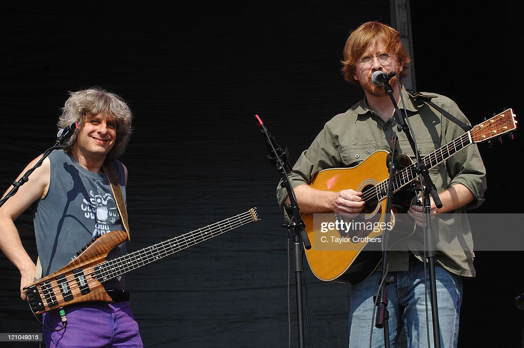 Trey Anastasio and Mike Gordon perform at The Odeum during Rothbury 2008 on July 6, 2008 in Rothbury, Michigan.