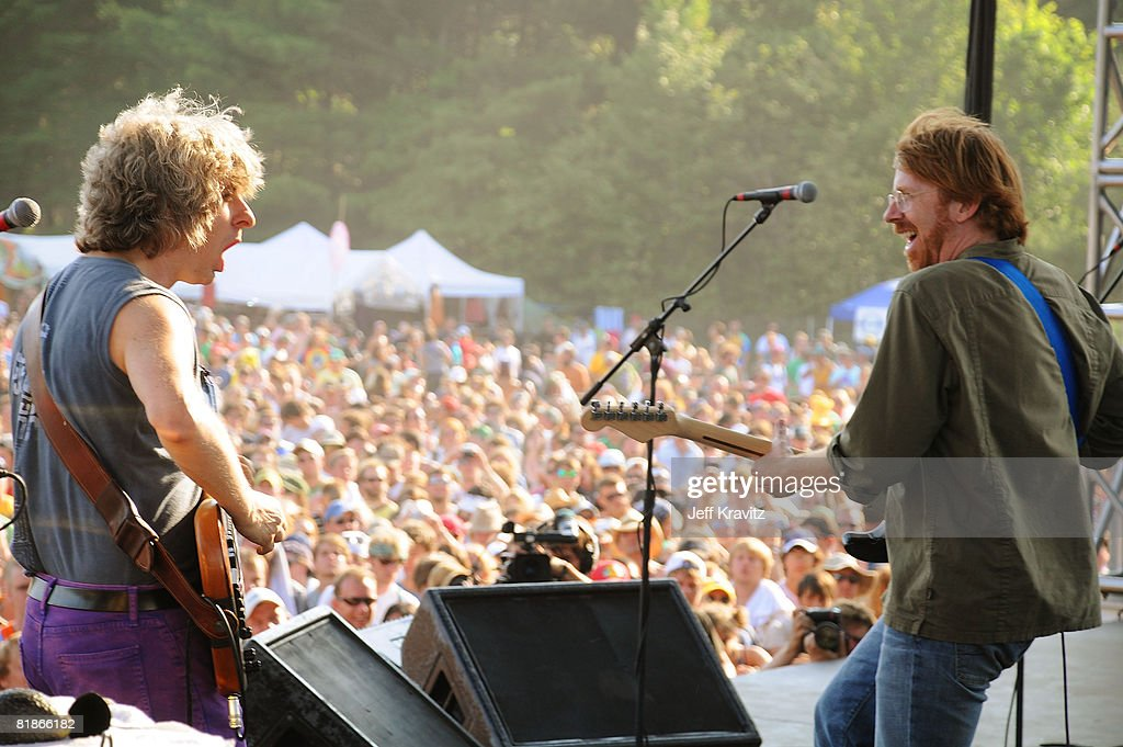 Trey Anastasio and Mike Gordon perform on the Ranch Sherwood Court Stage during the Rothbury Music Festival 08 on July 6, 2008 in Rothbury, Michigan.