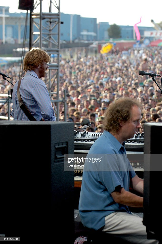 Trey Anastasio and Page McConnell during Phish IT Festival Day 2 at Loring Airforce Base in Limestone, Maine, United States.