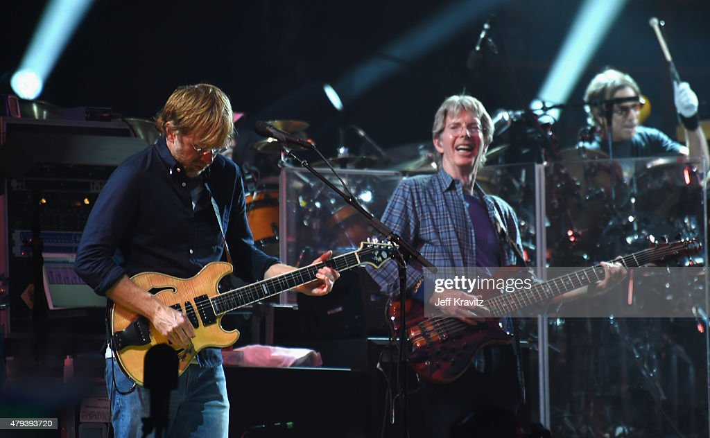 Trey Anastasio and Phil Lesh of the Grateful Dead perform at Soldier Field on July 3, 2015 in Chicago, Illinois.