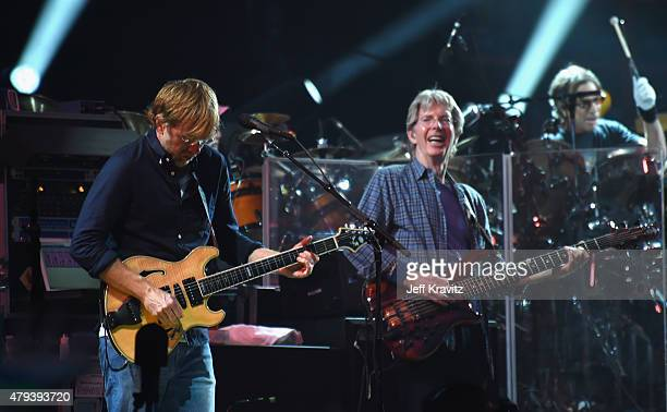 Trey Anastasio and Phil Lesh of the Grateful Dead perform at Soldier Field on July 3 2015 in Chicago Illinois