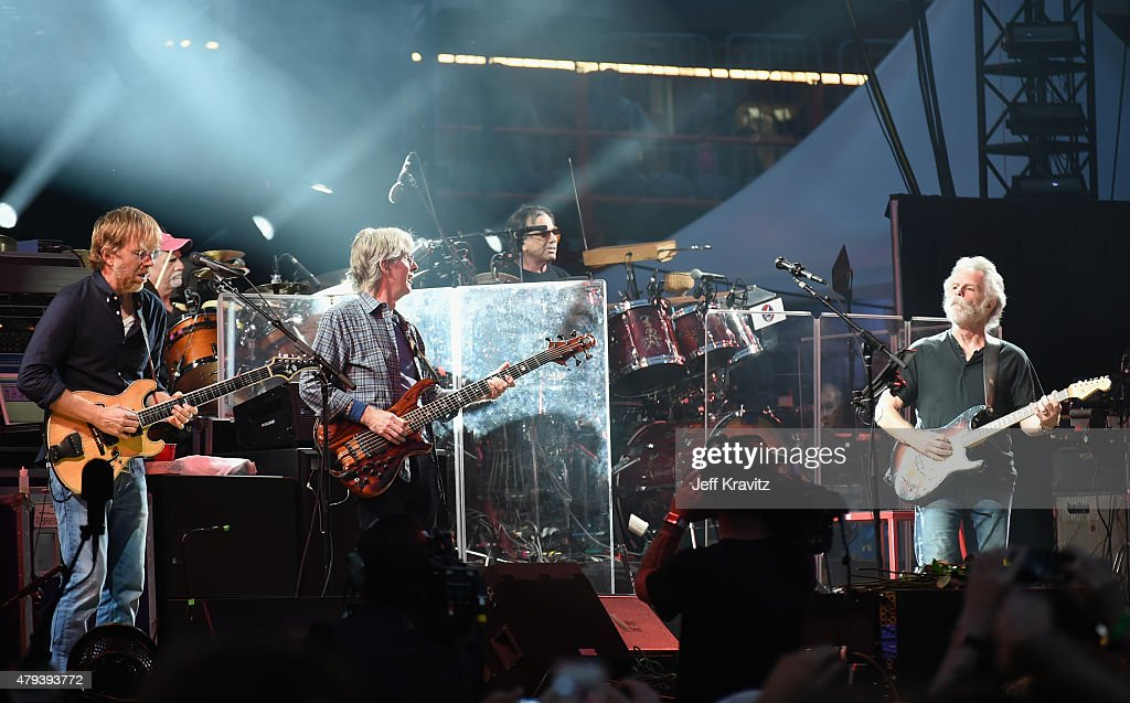 Trey Anastasio, Bill Kreutzmann, Phil Lesh, Mickey Hart and Bob Weir of the Grateful Dead perform at Soldier Field on July 3, 2015 in Chicago, Illinois.