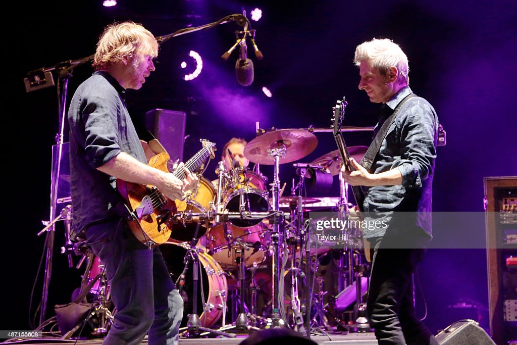 Trey Anastasio, Jonathan Fishman, and Mike Gordon of Phish perform during their sold-out three-night end to their 2015 Summer Tour at Dick's Sporting Goods Park on September 4, 2015 in Commerce City, Colorado.
