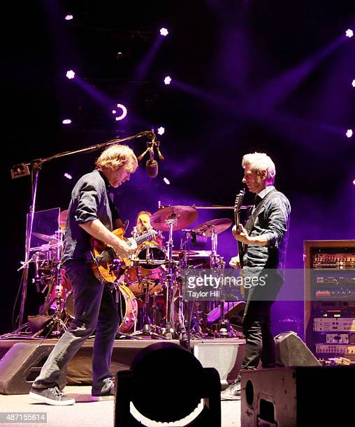 Trey Anastasio Jonathan Fishman and Mike Gordon of Phish perform during their soldout threenight end to their 2015 Summer Tour at Dick's Sporting...