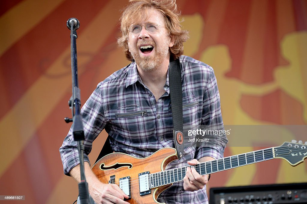 <a gi-track='captionPersonalityLinkClicked' href=/galleries/search?phrase=Trey+Anastasio&family=editorial&specificpeople=214116 ng-click='$event.stopPropagation()'>Trey Anastasio</a> of Phish performs during the 2014 New Orleans Jazz & Heritage Festival at Fair Grounds Race Course on April 26, 2014 in New Orleans, Louisiana.