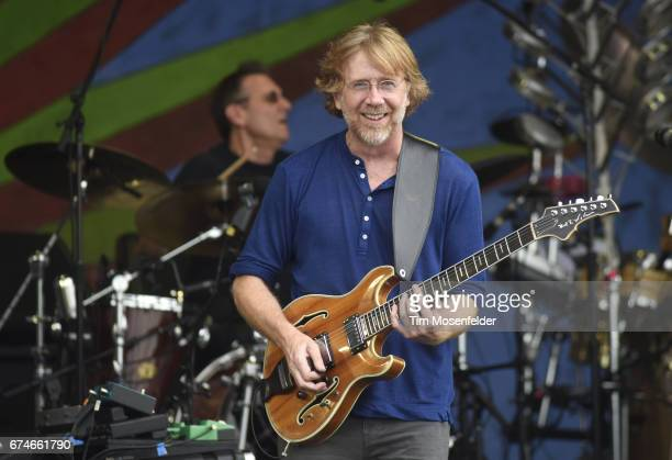 Trey Anastasio of the Trey Anastasio Band performs during the 2017 New Orleans Jazz Heritage Festival at Fair Grounds Race Course on April 28 2017 in...