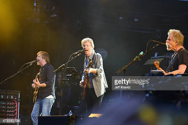 Trey Anastasio Phil Lesh and Bob Weir of the Grateful Dead perform at Soldier Field on July 3 2015 in Chicago Illinois