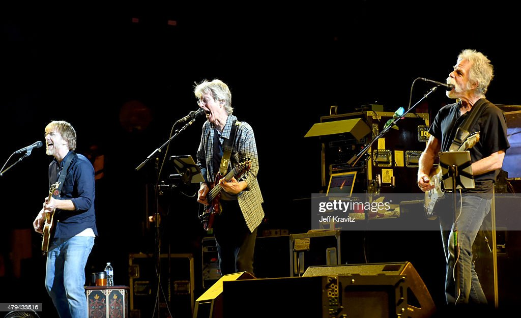 Trey Anastasio, Phil Lesh and Bob Weir of The Grateful Dead perform during the 'Fare Thee Well, A Tribute To The Grateful Dead' on July 3, 2015 in Chicago, Illinois.