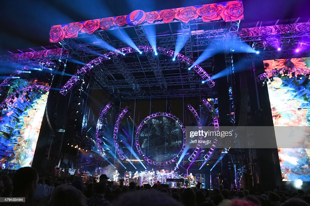 Trey Anastasio, Phil Lesh, Bill Kreutzman, Bob Weir, Mickey Hart, Jeff Chimenti and Bruce Hornsby of The Grateful Dead perform during the 'Fare Thee Well, A Tribute To The Grateful Dead' on July 3, 2015 in Chicago, Illinois.