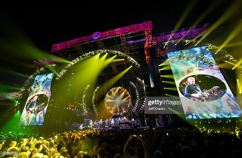 Trey Anastasio, Phil Lesh, Bill Kreutzmann, Bob Weir, Mickey Hart, Jeff Chimenti and Bruce Hornsby of The Grateful Dead perform during the 'Fare Thee Well, A Tribute To The Grateful Dead' on July 5, 2015 in Chicago, Illinois.