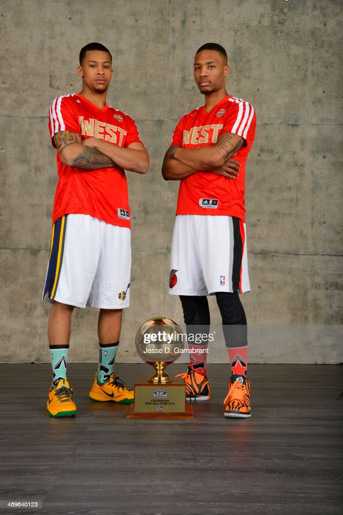 Trey Burke and Damian Lillard of the West poses for a portrait with the Taco Bell Skill Challenge Trophy after winning during the 2014 State Farm Saturday Night on February 15, 2014 at the Smoothie King Center in New Orleans, Louisiana.