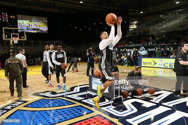Trey Burke of Team Webber shoots the ball during the BBVA Compass Rising Stars Challenge 2014 at Sprint Arena during the 2014 NBA AllStar Jam Session...