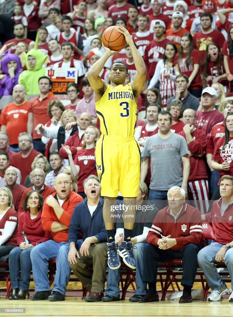 Trey Burke #3 of the Michigan Wolverines shoots the ball during the game against the Indiana Hoosiers at Assembly Hall on February 2, 2013 in Bloomington, Indiana.