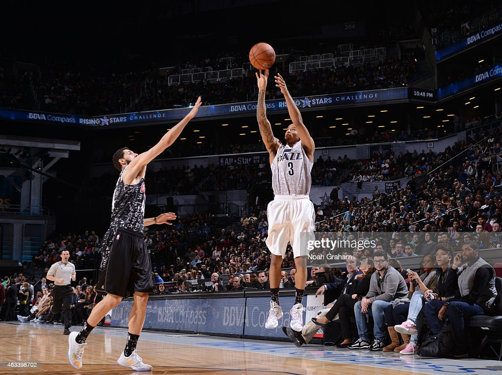 Trey Burke #3 of the USA team shoots against the World team in the 2015 BBVA Rising Stars Challenge on February 13, 2015 at Barclays Center in Brooklyn, New York.