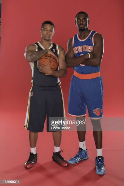 Trey Burke of the Utah Jazz and Tim Hardaway Jr #5 of the New York Knicks poses for a portrait during the 2013 NBA rookie photo shoot on August 6...