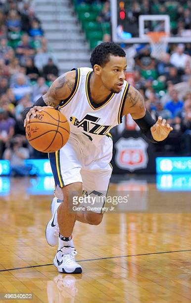 Trey Burke of the Utah Jazz brings the ball up court against the Portland Trail Blazers at Vivint Smart Home Arena on November 4 2015 in Salt Lake...