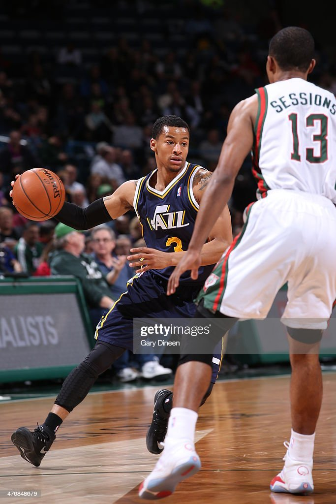 <a gi-track='captionPersonalityLinkClicked' href=/galleries/search?phrase=Trey+Burke&family=editorial&specificpeople=8770717 ng-click='$event.stopPropagation()'>Trey Burke</a> #3 of the Utah Jazz drives against the Milwaukee Bucks on March 3, 2014 at the BMO Harris Bradley Center in Milwaukee, Wisconsin.