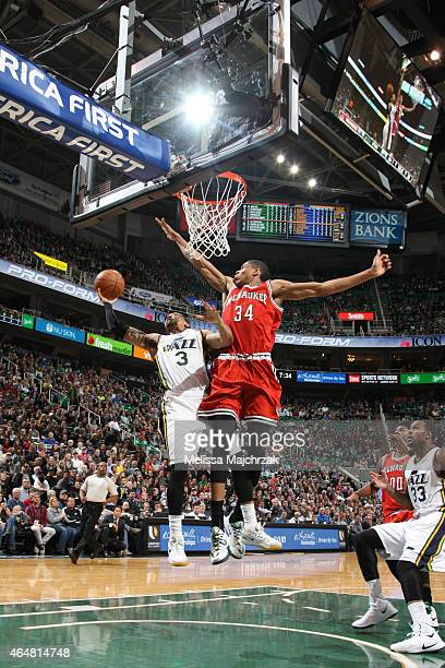 Trey Burke of the Utah Jazz goes up for a shot against the Milwaukee Bucks at EnergySolutions Arena on February 28 2015 in Salt Lake City Utah NOTE...