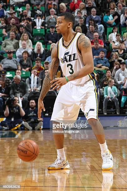 Trey Burke of the Utah Jazz handles the ball against the Atlanta Hawks on January 2 2015 at EnergySolutions Arena in Salt Lake City Utah NOTE TO USER...