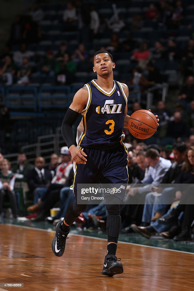 <a gi-track='captionPersonalityLinkClicked' href=/galleries/search?phrase=Trey+Burke&family=editorial&specificpeople=8770717 ng-click='$event.stopPropagation()'>Trey Burke</a> #3 of the Utah Jazz handles the ball against the Milwaukee Bucks on March 3, 2014 at the BMO Harris Bradley Center in Milwaukee, Wisconsin.