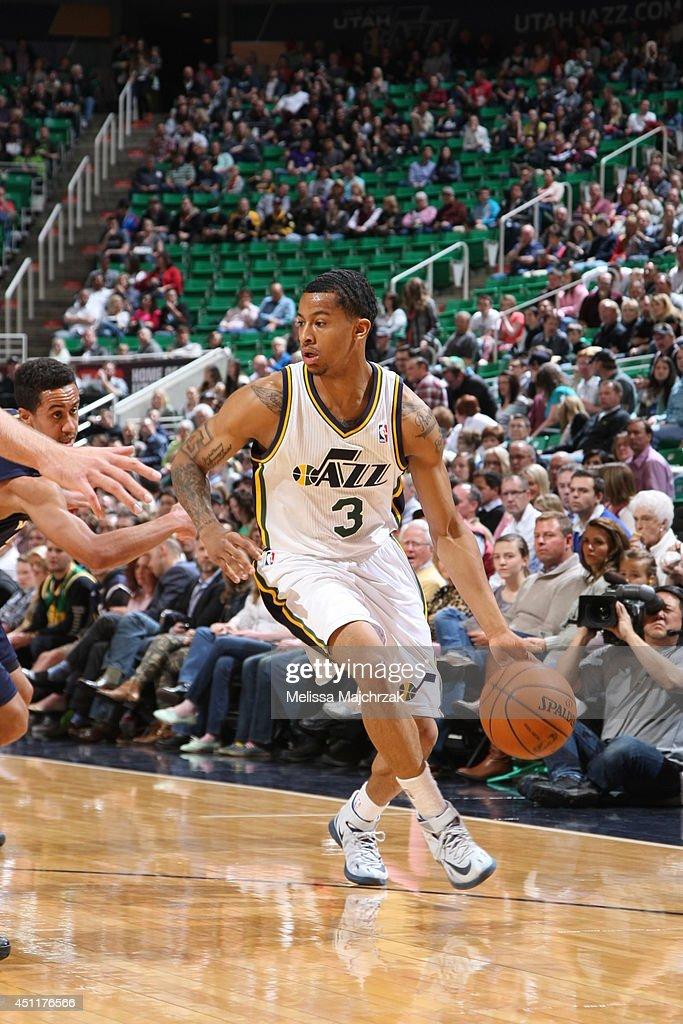 Trey Burke #3 of the Utah Jazz handles the ball against the New Orleans Pelicans at EnergySolutions Arena on April 04, 2014 in Salt Lake City, Utah.