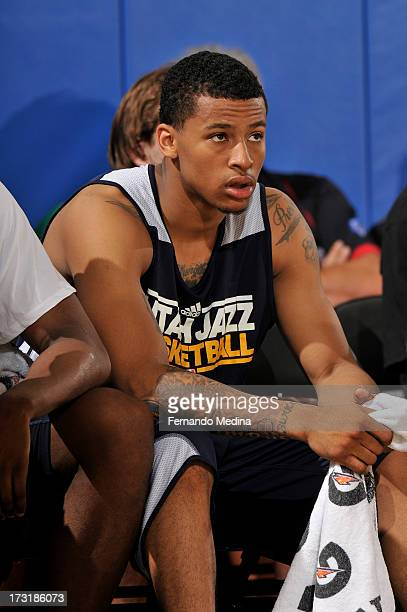 Trey Burke of the Utah Jazz looks on against the Houston Rockets during the 2013 Southwest Airlines Orlando Pro Summer League on July 9 2013 at Amway...