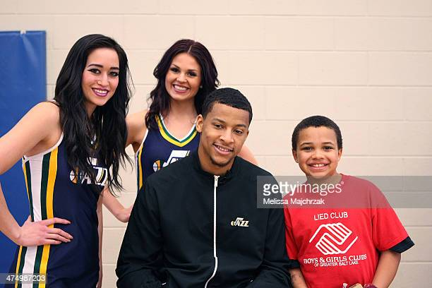 Trey Burke of the Utah Jazz poses for a photo during a clinic with the Boys and Girls Club at Boys and Girls Clubs of Greater Salt lake on February...