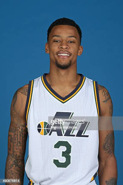 Trey Burke of the Utah Jazz poses for a photo during Media Day at Zions Basketball Center on September 28 2015 in Salt Lake City Utah NOTE TO USER...