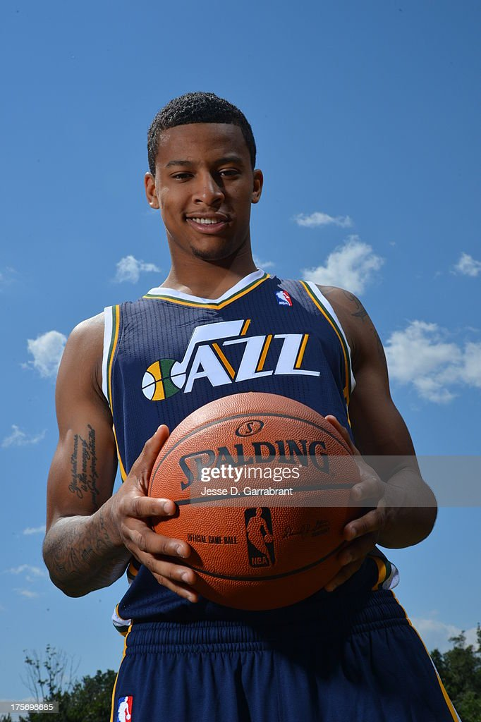Trey Burke of the Utah Jazz poses for a portrait during the 2013 NBA Rookie Photo Shoot on August 6, 2013 at the MSG Training Facility in Tarrytown, New York.