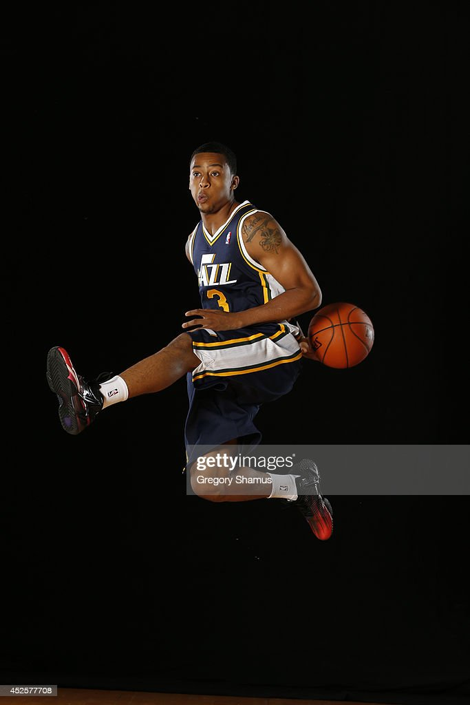 <a gi-track='captionPersonalityLinkClicked' href=/galleries/search?phrase=Trey+Burke&family=editorial&specificpeople=8770717 ng-click='$event.stopPropagation()'>Trey Burke</a> #3 of the Utah Jazz poses for a portrait during the 2013 NBA rookie photo shoot on August 6, 2013 at the Madison Square Garden Training Facility in Tarrytown, New York.