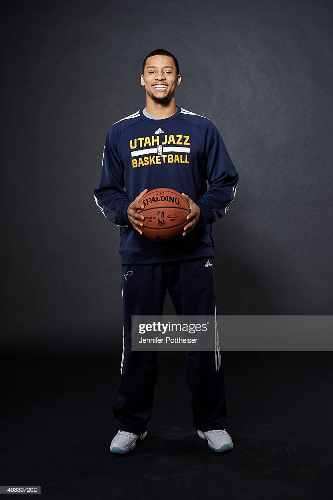 Trey Burke of the Utah Jazz poses for portraits during the NBAE Circuit as part of 2015 All-Star Weekend at the Sheraton Times Square Hotel on February 12, 2015 in New York, New York.