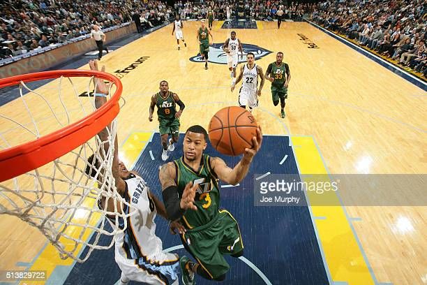 Trey Burke of the Utah Jazz shoots the ball against the Memphis Grizzlies on March 4 2016 at FedExForum in Memphis Tennessee NOTE TO USER User...