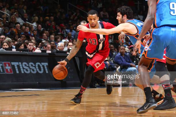 Trey Burke of the Washington Wizards handles the ball during a game against the Oklahoma City Thunder on February 13 2017 at Verizon Center in...