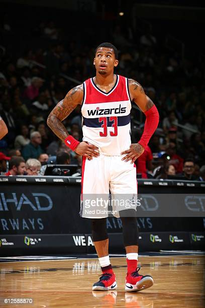 Trey Burke of the Washington Wizards looks on against the Miami Heat during a preseason game on October 4 2016 at Verizon Center in Washington DC...