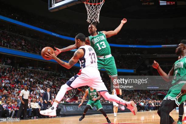 Trey Burke of the Washington Wizards passes the ball against the Boston Celtics in Game Three of the Eastern Conference Semifinals of the 2017 NBA...