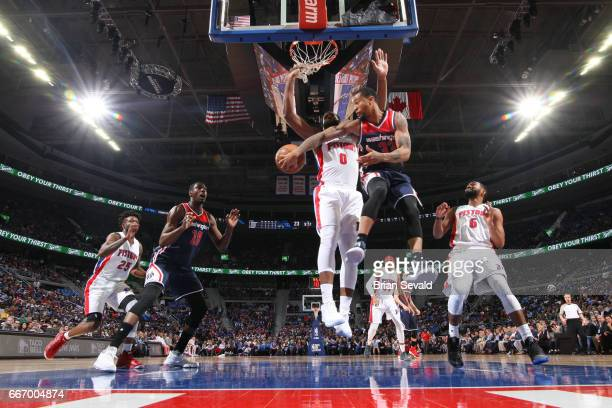 Trey Burke of the Washington Wizards passes the ball against the Detroit Pistons on April 10 2017 at The Palace of Auburn Hills in Auburn Hills...