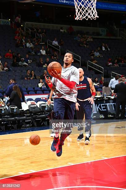 Trey Burke of the Washington Wizards warms up before a preseason game against the Miami Heat on October 4 2016 at Verizon Center in Washington DC...