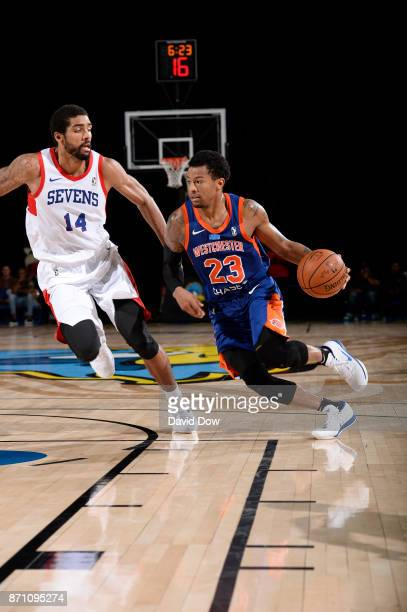 Trey Burke of the Westchester Knicks dribbles against James Michael McAdoo of the Delaware 87ers during the game at the Bob Carpenter Center in...