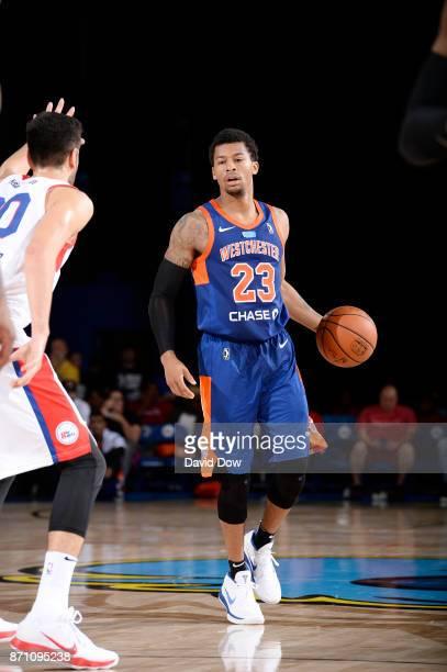 Trey Burke of the Westchester Knicks dribbles against the Delaware 87ers during the game at the Bob Carpenter Center in Newark Delaware on November...