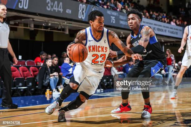 Trey Burke of the Westchester Knicks drives to the basket against the Lakeland Magic during an NBA GLeague game on November 19 2017 at Westchester...