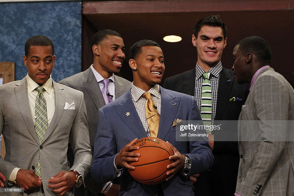 Trey Burke, pick number 9 by the Minnesota Timberwolves, smiles during the 2013 NBA Draft at the Barclays Center on June 27, 2013 in the Brooklyn borough of New York City.
