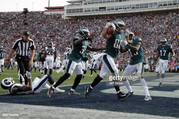 Trey Burton of the Philadelphia Eagles celebrates after scoring a touchdown during the second quarter of the game against the Los Angeles Rams at the...