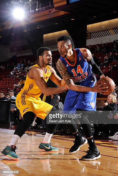 Trey Gilder of the Westchester Knicks controls the ball against Chris Crawford of the Canton Charge at the Canton Memorial Civic Center on March 17...