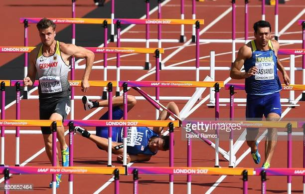 Trey Hardee of the United States falls in the Men's Decathlon 110 metres hurdles during day nine of the 16th IAAF World Athletics Championships...