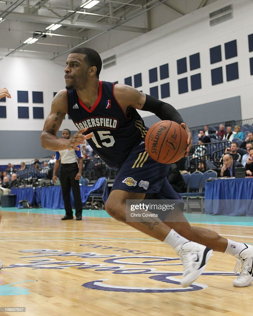 Trey Johnson #15 of the Bakersfield Jam drives the ball against the Fort Wayne Mad Ants during the 2011 NBA D-League Showcase on January 12, 2011 at the South Padre Island Convention Center in South Padre Island, Texas.