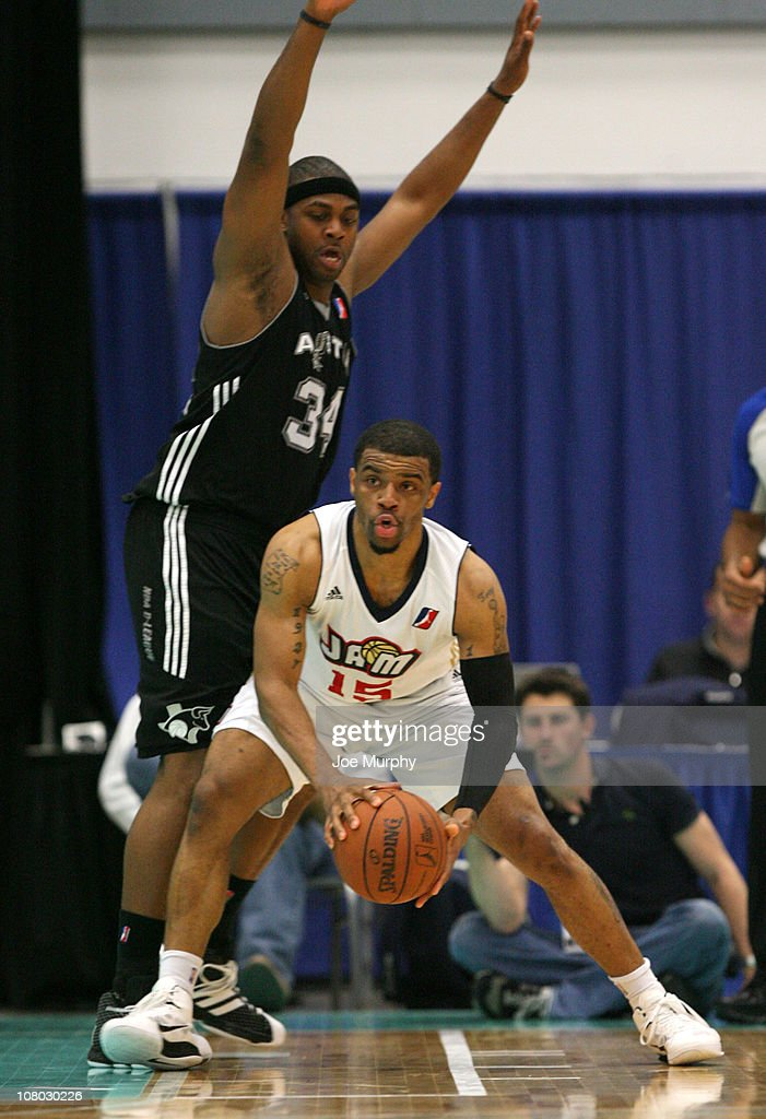 Trey Johnson #15 of the Bakersfield Jam drives the ball past Michael Joiner #34 of the Austin Toros during the 2011 NBA D-League Showcase on January 13, 2011 at the South Padre Island Convention Center in South Padre Island, Texas.