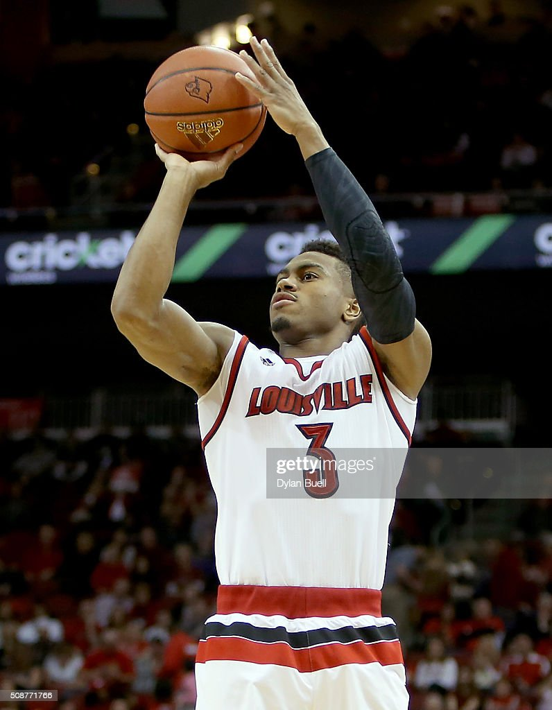 Trey Lewis #3 of the Louisville Cardinals attempts a shot during the second half against the Boston College Eagles at KFC Yum! Center on February 6, 2016 in Louisville, Kentucky.