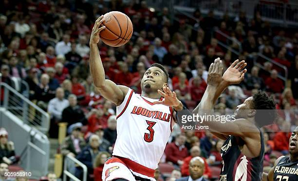 Trey Lewis of the Louisville Cardinals shoots the ball against the Florida State Seminoles at KFC YUM Center on January 20 2016 in Louisville Kentucky