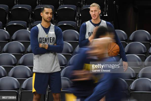 Trey Lyles and Mason Plumlee of the Denver Nuggets look on at practice prior to the game against the Utah Jazz on October 18 2017 at the Vivint Smart...